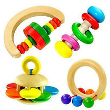 1PC Baby Rattle Hand bell Wooden Bell Toy  Musical Educational Toy Instrument