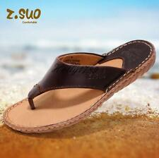 Men's Genuine Cowhide flip flop retro leisure sandal slippers#Summer beach