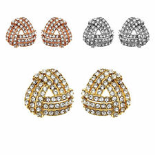 14K Gold, Rose Gold, or Rhodium Plated Crystal Love Knott Earring