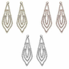 14K Gold, Rose Gold, or Rhodium Plated Triple Layered Leaf Crystal Earring