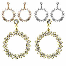14K Gold, Rose Gold, or Rhodium Plated Round Wreath Crystal Earring