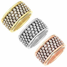 Gold, Rose Gold, or Rhodium Plated Four Row Clear Crystal Ring