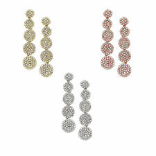 14K Gold, Rose Gold, or Rhodium Plated Five Disc Crystal Earring
