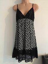 PRIMARK NIGHT DRESS CAMISOLE BLACK BUTTERFLYS SIZE 14/16 NEW
