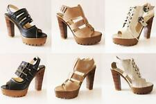 WOMENS LADIES STRAPPY BLOCK HIGH HEEL PLATFORM SANDALS SHOES SIZE 2-8