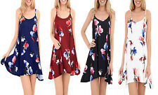 Ladies Women Floral Printed Cami Summer Flared Strappy Swing Top Dress 8-26