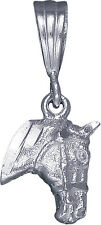 Sterling Silver Horse Head Charm Pendant Necklace Diamond Cut Finish with Chain