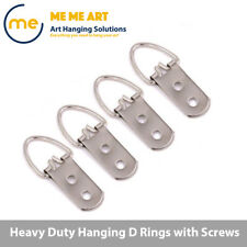 4/10/20/50 + Screw Heavy Duty D-Ring Painting Picture Frame Hanger Hanging Hooks