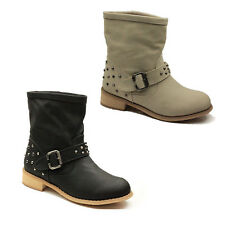 WOMENS LADIES COWBOY FLAT LOW BLOCK HEEL ANKLE BOOTS BOOTEIS SHOES SIZE 3-8