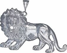 Sterling Silver Lion Pendant Necklace Diamond Cut Finish 3.42 Inhces 44.5 Grmas