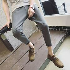 Mens Stylish Leisure Casual korean Loose Dress Trousers Cropped Pants