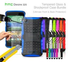 HTC Desire 320 - Shockproof Grip Case Cover, Ret Pen & Tempered GLASS