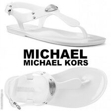 NWB MICHAEL Michael Kors Plate Jelly Fashion Sandals Beach Pool Silver Summer-