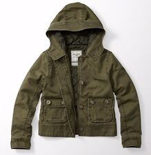 NEW A&F Abercrombie and Fitch TWILL JACKET green olive