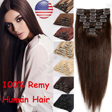 """US BIG SALE Clip In Remy Human Hair Extensions Real Human Hair Extension 16""""-24"""""""