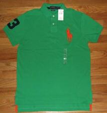 NEW NWT Mens Polo Ralph Lauren Custom Fit Polo Shirt BIG PONY LOGO Green *3J