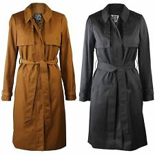 Ex Debenhams The Collection Long Mac Trench Coat Jacket Brown Black Belted 10-20