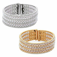 14K Gold or Rhodium Plated Seven Row White Pearl Cuff Bangle With Crystal