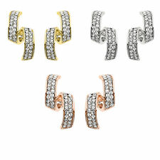 14K Gold, Rose Gold, or Rhodium Plated Crystal Spiral Earring