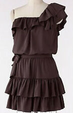 NWT~LAUREN CONRAD One Shoulder Ruffle Dress~Shale (Gray)~Size 12