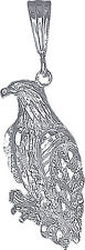 Sterling Silver Eagle Charm Pendant Necklace Diamond Cut Finish with Chain