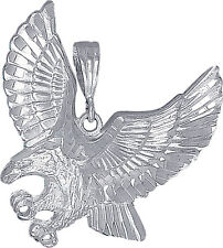 Sterling Silver Eagle Pendant Necklace Charm Diamond Cut Finish with Chain