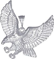 Sterling Silver Flying Eagle Pendant Necklace Diamond Cut Finish with Chain. XXL