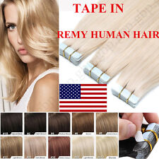"""16""""-22"""" Tape in Remy 100% Real Human Hair Extensions Skin Weft Straight US STOCK"""