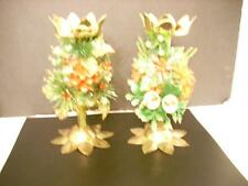 2 VINTAGE CHRISTMAS CANDLEHOLDERS BRASS & WOOD W/ FLORAL DECORATIONS  (Y2)