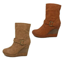 WOMENS LADIES WARM PLATFORM HIGH WEDGE HEEL ANKLE BOOTS SHOES SIZE 3-8