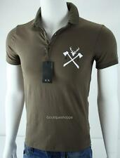 Armani Exchange A|X Mens Logo Polo Henley Stretch Muscle Top Olive NWT