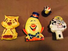 VTG  Lot 4 Baby Mickey Mouse Humpty Dumpty Owl Candle Night Light Plug-In Disney