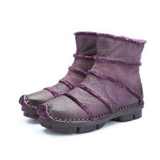 SUPER SOFT COMFY VINTAGE HANDMADE PURPLE LEATHER ANKLE BOOTS WESTERN COUNTRY