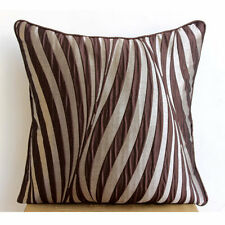 Abstract Stripes Brown Cushion Covers, 55x55 cm Jacquard - Brown Waves