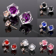 Shiny Candy Color Double Side Round Pearl Earings Resin Crystal Ball Ear Studs