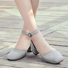 Womens Pointed Toe Faux suede Strap buckle Wedge heel Summer Sandals Shoes