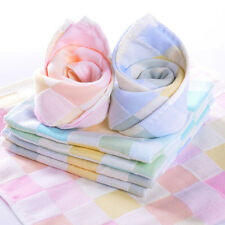 Lovely Checked Cotton Baby Feeding Bib Napkin Square Wipe Face Towel Washcloths