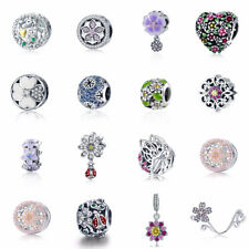 925 Sterling Silver Poetic Blooms Flower Clip fit European Charm Bead bracelet
