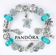 Authentic Pandora Sterling Silver Beach Bracelet with Turquoise Murano Beads