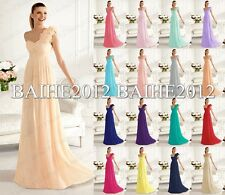 New Long One Shoulder Bridesmaid Dress Formal Evening Party Prom Gown Size 6-18