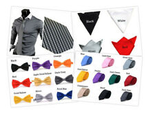 New Mens Wedding Party Plain Satin ●Necktie ●Bow Tie ●Square Hanky Handkerchief