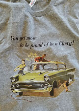 Men's Gray Tri Blend Short Sleeve '57 Chevy You Get More Graphic TShirt Large XL