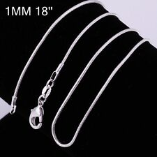 Wholesale Silver Pleated 1PC/5pcs 1mm Snake Chain Necklace 16-24inch Jewelry
