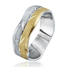 14k Two Tone Gold Wedding Ring Couple Band Authentic Leaf Etched Center 6mm New