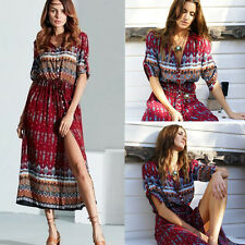 Summer Women Casual Boho Beach Dress V Neck Retro Floral Print Long Maxi Dress