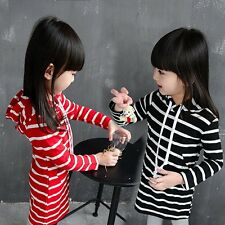 Baby Girl Striped Dress Long Sleeve Hoodie Sweater Blouse Kid Cotton Outfits New