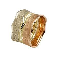 14k Tri Color Gold Wedding Ring Florentine Leaf Etched Center Handmade 10mm New