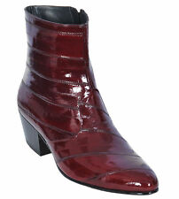 Los Altos Full Genuine Eel Dress Ankle Boots Medium Round Toe Side Zipper D