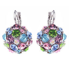 Lady Colorful Zircon Silver Tone Eardrop Earrings Wedding Party Jewelry Spirited