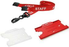 STAFF Neck Strap Printed Lanyard AND A Card Pass Badge ID Card Holder - FREEPOST